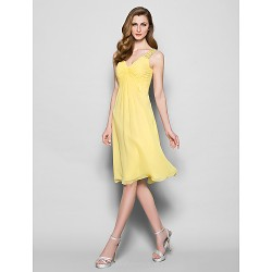 A Line Plus Sizes Petite Mother Of The Bride Dress Daffodil Knee Length Sleeveless Georgette