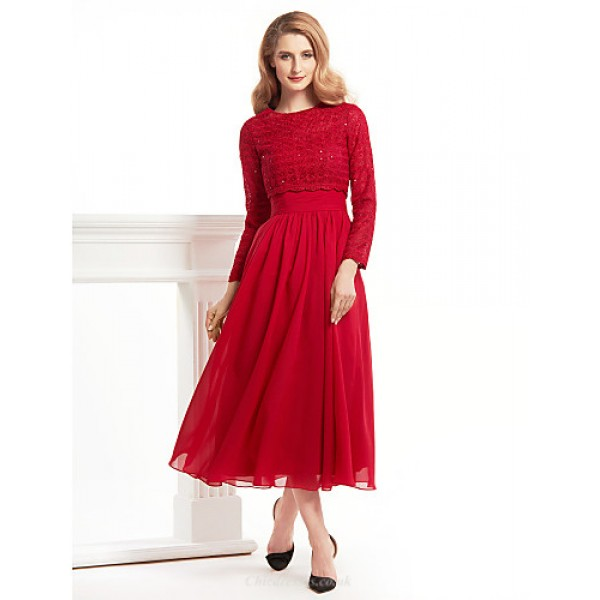 A-line Mother of the Bride Dress - Burgundy Tea-length Long Sleeve Chiffon / Lace Mother Of The Bride Dresses