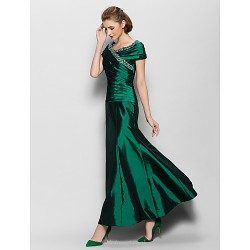 A Line Mother Of The Bride Dress Dark Green Ankle Length Short Sleeve Taffeta