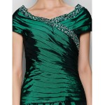 A-line Mother of the Bride Dress - Dark Green Ankle-length Short Sleeve Taffeta Mother Of The Bride Dresses