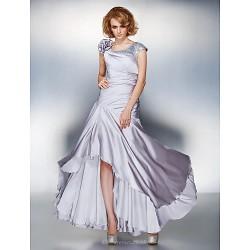 A Line Plus Sizes Petite Mother Of The Bride Dress Silver Asymmetrical Short Sleeve Satin Chiffon