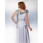 A-line Plus Sizes / Petite Mother of the Bride Dress - Silver Asymmetrical Short Sleeve Satin Chiffon Mother Of The Bride Dresses