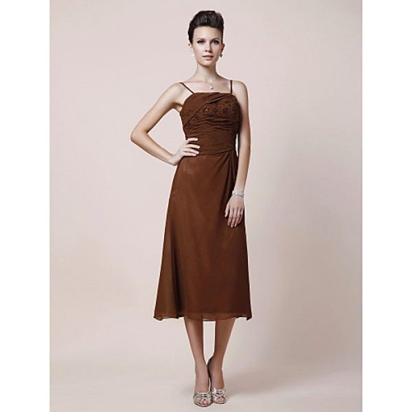 A-line Plus Sizes / Petite Mother of the Bride Dress - Brown Tea-length Sleeveless Chiffon Mother Of The Bride Dresses
