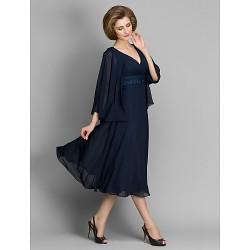 A-line Mother of the Bride Dress - Dark Navy Tea-length 3/4 Length Sleeve Chiffon