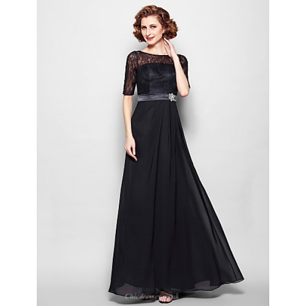 A-line Plus Sizes / Petite Mother of the Bride Dress - Black Floor-length Half Sleeve Chiffon / Lace Mother Of The Bride Dresses