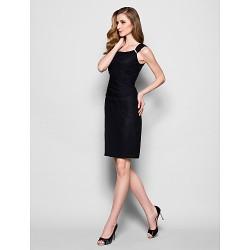 Sheath Column Plus Sizes Petite Mother Of The Bride Dress Black Knee Length Sleeveless Chiffon