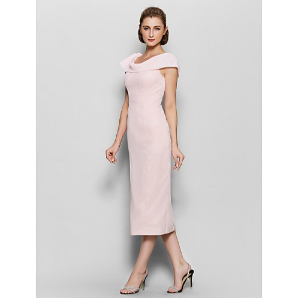Sheath/Column Mother of the Bride Dress - Pearl Pink Tea-length Short Sleeve Chiffon Mother Of The Bride Dresses