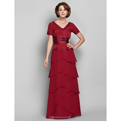 Sheath Column Plus Sizes Petite Mother Of The Bride Dress Burgundy Floor Length Short Sleeve Chiffon Lace