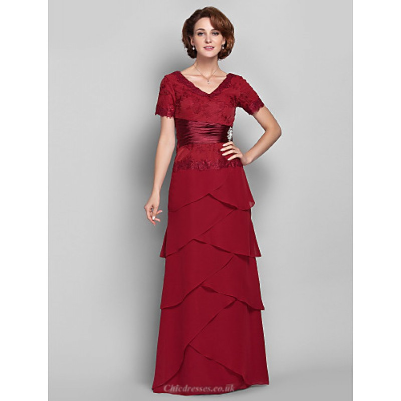 3040ea67e7b Sheath Column Plus Sizes   Petite Mother of the Bride Dress - Burgundy  Floor-