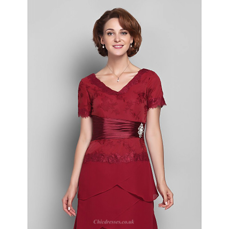 3a5f8e9c7759 ... Sheath/Column Plus Sizes / Petite Mother of the Bride Dress - Burgundy  Floor- ...