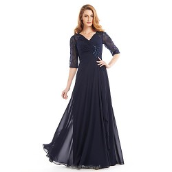 A Line Mother Of The Bride Dress Dark Navy Floor Length Half Sleeve Chiffon