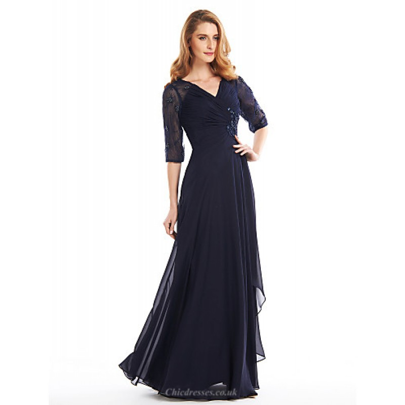 A Line Mother Of The Bride Dress Dark Navy Floor Length