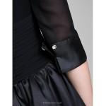 A-line Mother of the Bride Dress - Black Knee-length Half Sleeve Chiffon / Taffeta Mother Of The Bride Dresses