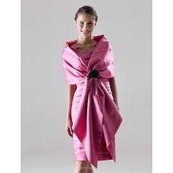 Sheath Column Plus Sizes Petite Mother Of The Bride Dress Fuchsia Knee Length Sleeveless Satin