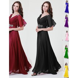 A-line V Neck Mother of the Bride Dresses - Grape Royal Blue Black Floor-length Charmeuse Full Length
