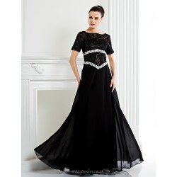 A Line Plus Sizes Petite Mother Of The Bride Dress Black Floor Length Short Sleeve Chiffon Lace