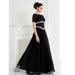 A-line Plus Sizes / Petite Mother of the Bride Dress - Black Floor-length Short Sleeve Chiffon / Lace Mother Of The Bride Dresses