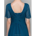 A Line Mother Of The Bride Dress Ink Blue Ankle Length Short Sleeve Chiffon