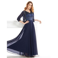 A-line Mother of the Bride Dress - Dark Navy Ankle-length Half Sleeve Chiffon