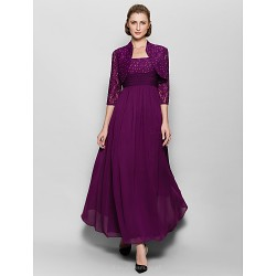 A Line Mother Of The Bride Dress Grape Ankle Length 3 4 Length Sleeve Chiffon Lace