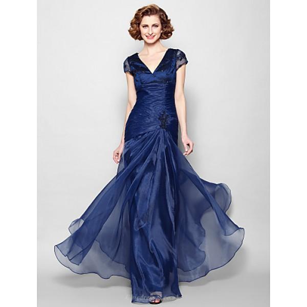A-line Plus Sizes / Petite Mother of the Bride Dress - Dark Navy Floor-length Short Sleeve Organza Mother Of The Bride Dresses