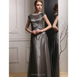 Formal Evening Dress Dark Grey Sheath Column Jewel Floor Length Satin