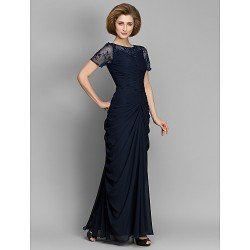 Sheath Column Mother Of The Bride Dress Dark Navy Ankle Length Short Sleeve Chiffon