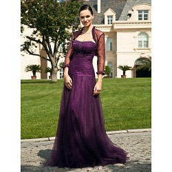 A Line Plus Sizes Petite Mother Of The Bride Dress Grape Floor Length 3 4 Length Sleeve Tulle