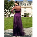 A-line Plus Sizes / Petite Mother of the Bride Dress - Grape Floor-length 3/4 Length Sleeve Tulle Mother Of The Bride Dresses