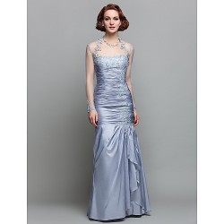 Trumpet/Mermaid Plus Sizes / Petite Mother of the Bride Dress - Silver Floor-length Long Sleeve Taffeta / Lace