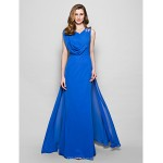 A-line Plus Sizes / Petite Mother of the Bride Dress - Royal Blue Floor-length Sleeveless Chiffon Mother Of The Bride Dresses