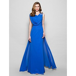 A Line Plus Sizes Petite Mother Of The Bride Dress Royal Blue Floor Length Sleeveless Chiffon