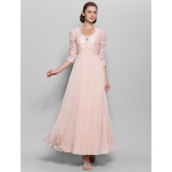 A Line Mother Of The Bride Dress Pearl Pink Ankle Length 3 4 Length Sleeve Chiffon Lace
