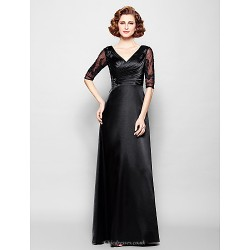 Sheath/Column Plus Sizes / Petite Mother of the Bride Dress - Black Floor-length Half Sleeve Stretch Satin / Lace