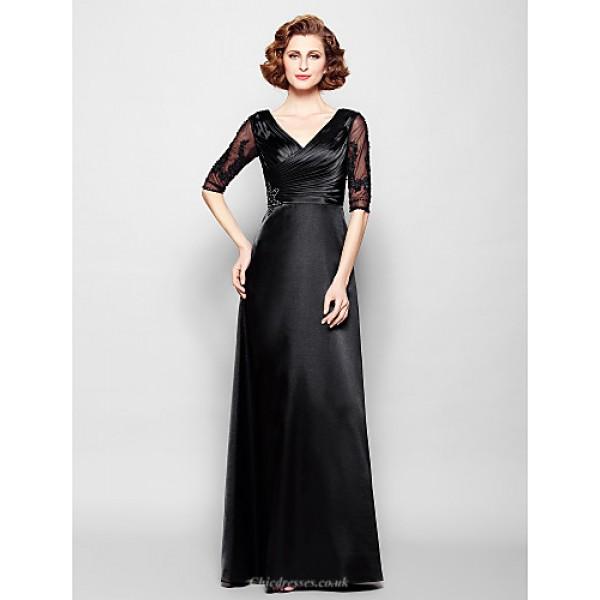 Sheath/Column Plus Sizes / Petite Mother of the Bride Dress - Black Floor-length Half Sleeve Stretch Satin / Lace Mother Of The Bride Dresses