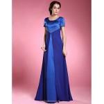 A-line Plus Sizes / Petite Mother of the Bride Dress - Royal Blue Floor-length Short Sleeve Chiffon / Satin Mother Of The Bride Dresses