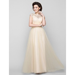 A Line Mother Of The Bride Dress Champagne Ankle Length Sleeveless Tulle