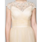 A-line Mother of the Bride Dress - Champagne Ankle-length Sleeveless Tulle Mother Of The Bride Dresses
