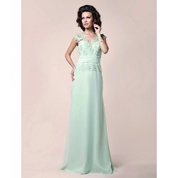 A-line Plus Sizes / Petite Mother of the Bride Dress - Sage Floor-length Sleeveless Chiffon / Lace