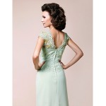 A-line Plus Sizes / Petite Mother of the Bride Dress - Sage Floor-length Sleeveless Chiffon / Lace Mother Of The Bride Dresses