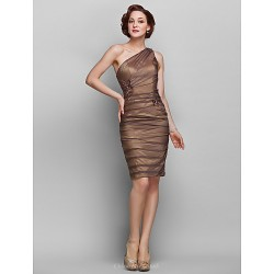 Sheath/Column Plus Sizes / Petite Mother of the Bride Dress - Brown Knee-length Sleeveless Chiffon