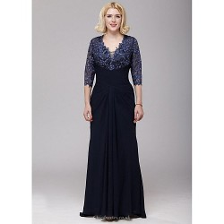 A Line Mother Of The Bride Dress Dark Navy Floor Length Chiffon Lace