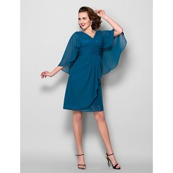 Sheath Column Plus Sizes Petite Mother Of The Bride Dress Ink Blue Knee Length 3 4 Length Sleeve Chiffon