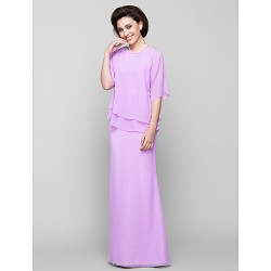Trumpet Mermaid Mother Of The Bride Dress Lilac Floor Length Half Sleeve Chiffon