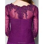 A-line Plus Sizes / Petite Mother of the Bride Dress - Grape Floor-length 3/4 Length Sleeve Chiffon / Lace Mother Of The Bride Dresses