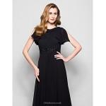 A-line Plus Sizes / Petite Mother of the Bride Dress - Black Court Train Short Sleeve Georgette / Lace Mother Of The Bride Dresses
