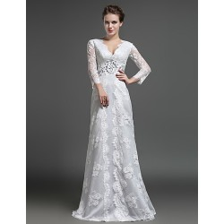 Sheath Column Mother Of The Bride Dress Ivory Floor Length Lace