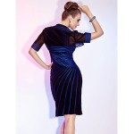 TS Couture Cocktail Party / Wedding Party Dress - Royal Blue Plus Sizes / Petite Sheath/Column V-neck Knee-length Stretch Satin / Tulle Mother Of The Bride Dresses