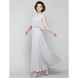 A-line Mother of the Bride Dress - Silver Ankle-length Sleeveless Chiffon