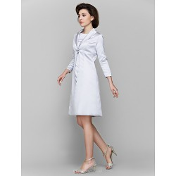 A Line Mother Of The Bride Dress Silver Knee Length 3 4 Length Sleeve Charmeuse